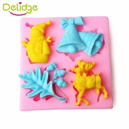 Wholesale Christmas Tree Silicone Mould - 1 pc Christmas Story Cake Mold Silicone Snow Man Tree Elk Bell Design Fondant Candy Mould Cupcake chocolate Decoration Tool
