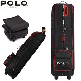 Bolsas de avión al por mayor online-Al por mayor- marca POLO, bolso de avión de golf más grueso con rueda de goma, grande que contiene la bolsa de vuelo de golf de aplicación flexible de espacio