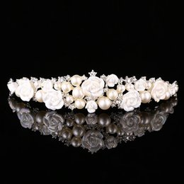 Wholesale Classic Headgear - Wedding Bridal Bridesmaid Ceramic headgear Pearl Diamond Crown Wedding Headdress Hair Wreath New Fashion Hair Jewelry Accessories 2018