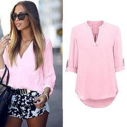 Wholesale Girls Fashion T Shirts - Hot New Sexy Girls Women's T Shirt with V Neck Sexy Lady Long Sleeve Tops Fashion Shirt Casual Soild Blouse LX3534