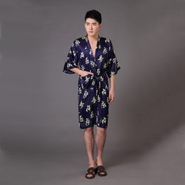 Wholesale Traditional Chinese Robes - Wholesale-Plus Size XXXL Navy Blue Male Kimono Bath Gown Traditional Chinese Men Silk Rayon Robe Vintage Print Nightgown Sleepwear MR015