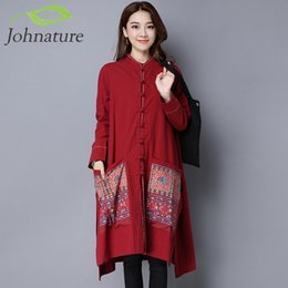 Wholesale Women S Trench Coat Pattern - Wholesale- Johnature Women Cotton Linen Trench Coats Women Clothes Embroidery Floral Nation Style Stand Button 2017 Autumn Trench
