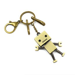 Wholesale Keyring Wedding Favors - Fashion lovely Cartoon Robot Keychain Key Rings Bronzed Zinc Alloy Key Accessories DIY Toys Keyring Wedding Favors Child Gift High Quality