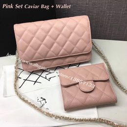 Wholesale Leather Pieces Black - 2 Pieces Women's Genuine Leather Bag Set 20cm Pink Caviar Crossbody Bag Three Folder Short Wallets 2018 Fashion Female Handbags
