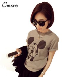 t-shirt en gros pour imprimé animal Promotion Vente en gros- CWLSP New Fashion Womens O-Neck T-shirt à manches courtes Summer Cotton Cartoon imprimé Tees Tops femme camiseta mujer