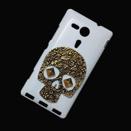 Wholesale M35h Case - White Shell Skin for Sony Xperia SP M35H, Punk Stud Rivet Spike Retro Vintage Bronze Metallic Skull Skeleton Back Hard Protective Case Cover