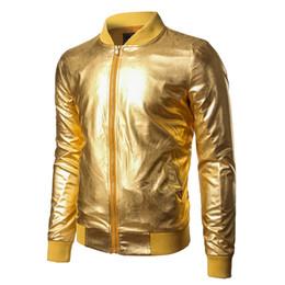 Wholesale Men Varsity Jackets Red - Christmas halloween Party Mens Jacket Nightclub Metallic Gold Shiny Jackets 2017 Men Veste Homme Slim Lightweight Varsity Bomber Jacket