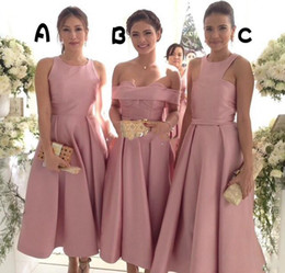 Wholesale Tea Length Gray Wedding Dress - Pink Satin Three Style Bridesmaid Dresses For Wedding 2017 Crew Off Shoulder Tea Length Maid Of Honor Gowns Elegant Formal Party Dresses