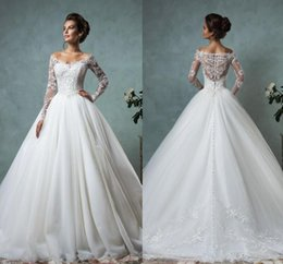 Wholesale New Fall Dresses - Amelia Sposa 2017 New Lace Tulle Wedding Dresses Vintage Spring Fall Off Shoulder Long Sleeve Bridal Gowns Arabic Wedding Gowns