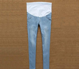 Wholesale Trouser Jeans For Pregnant Women - 2017 New Jeans Maternity Pants For Pregnant Women Clothes Trousers Nursing Prop Belly Legging Pregnancy Clothing Overalls Ninth Pants