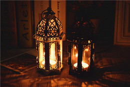 Wholesale Big Candle Lanterns - Hot selling Black White Metal candle holders Iron lantern For Wedding Favors Gift Home Decorations Supplies