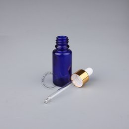 perfume de cobalto Desconto 5 x 15 ml Azul Cobalto Garrafa de Óleo Essencial 1 / 2oz amostra de Vidro Frasco De Pipeta Conta-gotas Garrafa De Perfume Amostra de Vidro Vidraria Cap Dourado