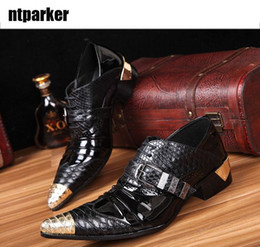 Wholesale Oxford Metal - Japan Style Rock Shoes Man Metal pointed toe increased heels man's leather shoes business shoes man's shoe, EU 45 46