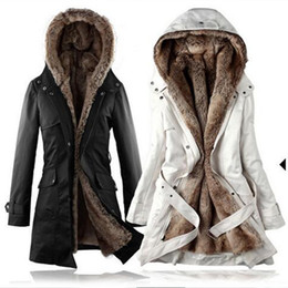 Wholesale Women Faux Fur Winter Hoodie - Wholesale-Fleece Shearling Faux Fur Belted Trench Zipper Bow Tie Belt Button With Pocket Chunky Military Winter Warm Hoodie Duster Coats