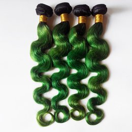 Wholesale Indian Remy Virgin Body Wave - Brazilian virgin human Hair Body Wave Ombre color Dip Dye Two Tone 1B green sexy Indian remy Hair Weave Hot Fashion Beauty Hair
