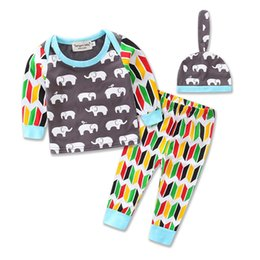 Wholesale Tshirt Pants Tops - New Infant Boys Girls Cartoon Elephant Print long-sleeved tshirt tops tees Pants Caps Baby Boys Clothes Newborn Leisure Suit Set A7326