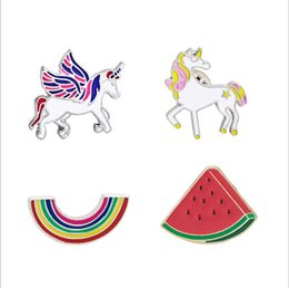 Wholesale Pegasus Figure - Unicorn Pegasus Brooch Pins Cartoon Badge Alloy Action Figures Anime Toy Chrismas Gift 60 pcs YYA608