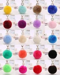 Wholesale Wholesale Cute Rings For Girls - Cute Plush Key Rings Faux Fox Fur Ball Metal Keyrings Soft Pom Poms eychain For Car Bag Keychains Key Chain Accessories