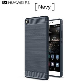 Wholesale Gel Carbon - Ipaky Brush Carbon Fiber Hybrid Armor Case For NOKIA 3 5 6 Huawei P8 P9 Lite Plus Mate8 V8 Soft TPU GEL PC ShockProof Phone Skin Cover 10pcs
