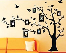 telai di foto vinili rimovibili Sconti Photo Frame Albero Uccelli Wall Sticker Vinile Smontabile Decalcomania Moda Home Living Bedroomn TV Sfondo muro Decor