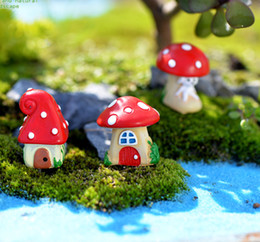 Wholesale Dollhouses Miniatures - 9pcs Cartoon mushroom house figurines fairy garden miniature resin craft dollhouse bonsai decor terrarium jardin decoracion