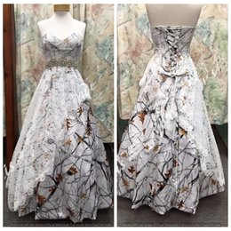 Wholesale Red Wedding Gowns Online - Custom Online Sweetheart Satin Camo Wedding Dress Lace Overlay Snowfall Camouflage Formal Lace Up Back Bridal Gowns Crystal Waistline