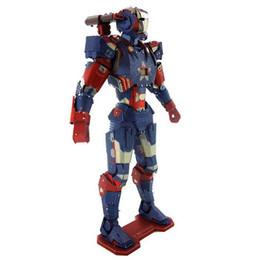 Wholesale Iron Artwork - Iron Man War Machine Patriot 3D Metal Puzzle Colorful Assembly Laser Cut Toy Jigsaw Artwork DIY Building Block Gift