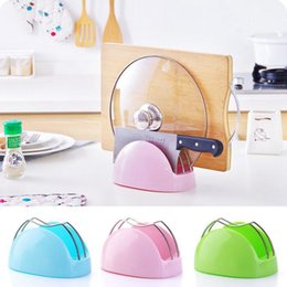 Wholesale Drain Dish Rack - Plastic Drain Water Chopping Board Holder Kitchen Multifunction Knife Holder Pot Lid Holder Shelf Kitchen Tools OOA3423