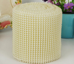 Wholesale Wedding Centerpieces Pearls - 10yard 24row Half Round Pearl Beads Bendable Mesh Wrap Roll Chain Trim For Sewing Apperal Bag Shoes Cap Decoration