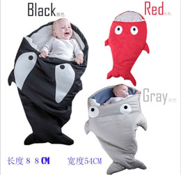 Wholesale Baby Strollers Winter - 2016 New Baby Shark Sleeping Bag Newborns Sleeping Bags Winter Strollers Bed Swaddle Blanket Wrap Cute Bedding Infant Sleeping Bag 3 Colors