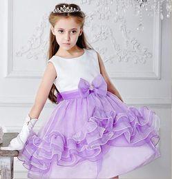 Wholesale Chart Yellow Clothes - Girls dress stack children's princess skirt falbala dress flower bowknot sleeveless children's clothes wedding party dress
