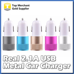 Wholesale 12 Volt Adapters - Real 2.1A Metal Dual USB Port Car Adapter Charger Universal 12 Volt 1 2 Amp for Apple iPhone iPad iPod Samsung Galaxy Moto Nokia Htc
