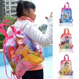 Wholesale Wholesale Princess Drawstring Backpack - Min Order=10PCS Princess Children Cartoon Drawstring Backpacks School Bags 34*27CM Kids Best Birthday Gift Shopping Party Bags Free Shipping