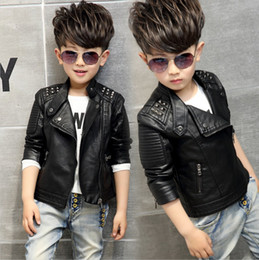Wholesale Boys Kids Leather Jackets - Cool 2017 boys kids coat Quality PU leather jackets Strape zipper handsome children Autumn Spring Stand collar outwear 3 4 5 6 7 8 9 10years