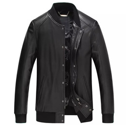 Wholesale Genuine Suede Jacket - Fall-Leather suede sheepskin coat men genuine leather jacket fashion sports single leather coat short high end top quality NewPhoenix