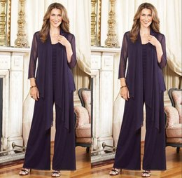Wholesale Regency Sleeve Dresses - 2016 Custom Made Elegant Regency Scoop Mother's Pants Suits Plus Size With Jacket Long Sleeve Chiffon Evening Gowns Formal Party Dress
