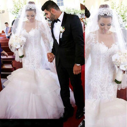 Wholesale Charming Organza Wedding Dresses - Charming Dubai Arabic Lace Organza Long Sleeve Mermaid Wedding Dresses 2016 Sheer Vestidos De Noiva Ruffles Bridal Gowns Plus Size