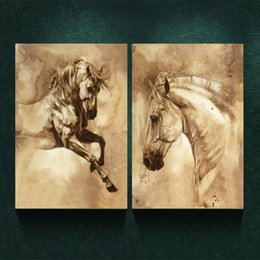 Wholesale Modern Painting Horses - 2pcs Unframed Modern Wall Pictures White Horse Steed Painting Art Oil Painting Print On Canvas Home Wall Decoration