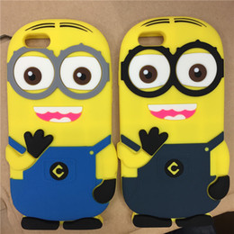 Wholesale Despicable Case Cover 3d - Despicable Me Minions Minion M2 3D Cartoon Soft Silicone Rubber Phone Cases Covers For iphone 6 plus 6S 5S With OPP Bag Pacakge