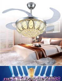 Wholesale Led Bulbs Sizes - small size model ceiling fan light with four changeable light colors and remote control, crystal lamp shade MYY