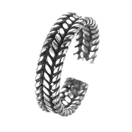 Wholesale Male Sterling Silver Wedding Ring - 5pcs lot Retro Adjustable Male Ring Twist Wide 925 Sterling Silver Brand Jewelry Wholesale Bijouterie Cool Gift