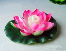 Wholesale Floating Flowers Supplies - Artificial LED Candle Floating Lotus Flower With Colorful Changed Lights For Birthday Wedding Party Decorations Supplies Ornament