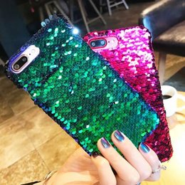 Wholesale Diy Iphone Hard Case - For iPhone X 8 7 6 6S Plus Colorful DIY Mermaid Sequin Magical Bling 3D Fish Skin Glitter Phone Case Hard Cover