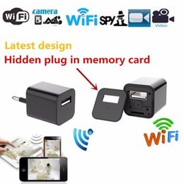 Wholesale Ip Security Dvr - WiFi Charger Camera 1080P Wireless Spy Camera EU US Power Adapter Hidden Camera Plug USB Phone Charger Cam IP Security Camcorder DVR