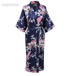 Wholesale Vintage Satin Kimono - Wholesale-Navy Blue Summer Vintage Rayon Satin Robe Gown Women's Sexy Kimono Yukata Gown Sleepwear Peacock Size S M L XL XXL XXXL BR107