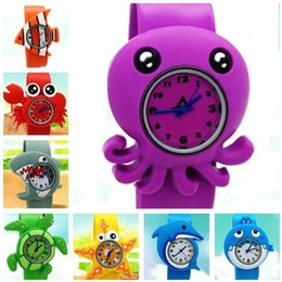 Wholesale Animal Snap Slap Wrist Watches - Kids Silicone Slap Snap Watch Cute Cartoon Ocean Animal Wrist Watches wristwatch Boys Girls Toys Children Christmas Party Gift wholesale hot