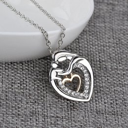 Wholesale Double Heart Necklace Diamond - 2016 New Mother's Day Jewelry Alloy with Diamond Double Heart Pendant Necklace Creative Design Plated Silver Necklace Mom Exclusive Gifts