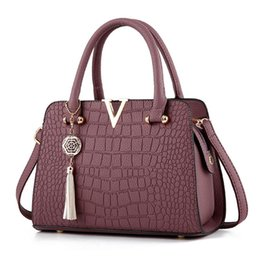 Wholesale Satchels Hand Bags - Women Shoulder Bags Crocodile Pattern Clutch Hand Diagonal Female Packs PU Package Diagonal Lady Cross Body Packages Girl Tote Bag
