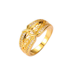 yellow stone jewelry sets Promo Codes - Top Quality Brand New Rings 24K Yellow Gold Plated Classic Comfort Fine Jewelry Charms CZ For Women Wedding Engagement Party Free Shipping