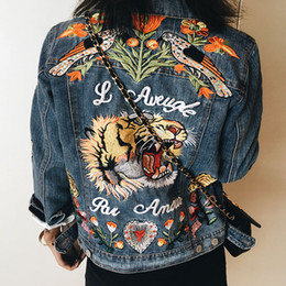 Wholesale Embroidery Butterfly Patch - Wholesale- Luxury G Brand Designer women flower embroidery Denim Bomber Jacket butterfly bird Embossed jeans coat chaqueta Oversized Jacket